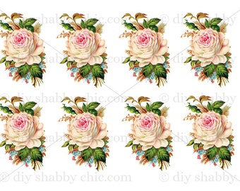 A7 Furniture Decal Shabby Chic French Image Transfer Vintage Roses Flowers  Floral Label Recycle Upcycling Crafts