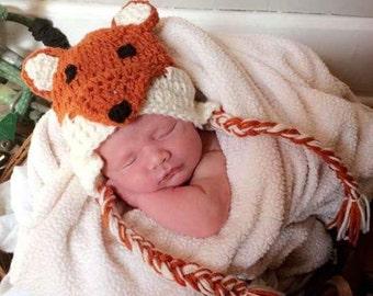 Newborn Crochet Fox Hat