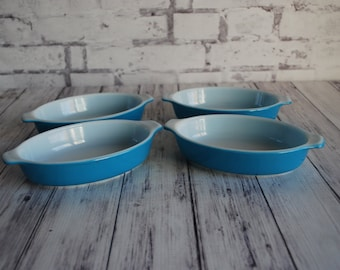 Pyrex Pretty Horizon Blue Pyrex 700 Individual 10 Ounce Serving Dishes, Set of Four