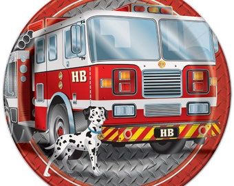 8 Ct Sturdy 9 Inch Dinner Size Paper Plates - Firefighter Luncheon Plates - Fire Truck Design - Firefighter Party - Fireman Birthday Plates