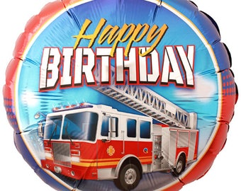 One 18 inch Fire Truck Happy Birthday Foil Balloon - Firefighter Theme - Fireman - Firefighter Birthday Party Decor