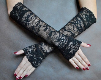 Elegant GOTHIC VAMPIRE Victorian Burlesque Evening Glamour long GLOVES, armwarmers, black lace, goth fingerless mittens