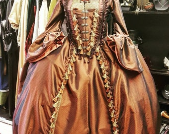 Copper Marie Antoinette Gown with matching Mask