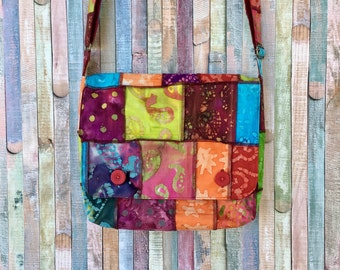 Messenger bag multicolored fabric - Crossbody boho bag - Colorful shoulder bag - Original handbag - Cotton purse