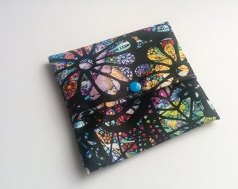 Stained Glass Floral Pad Wrap ~ Mini Wet Bag ~ Wet Bags for Pads ~ Pad Wrapper ~ Reusable Snack Bag ~ Cloth Wipes Case ~ Small Wet Bag