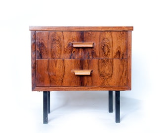Pair Rosewood Nightstands 1960s Mid Century Modern Design Bedside Table Cabinet Bedroom Furniture