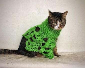 Crochet Dog Poncho Green Cat Cape Unique Handmade Clothes Pet Photo Prop