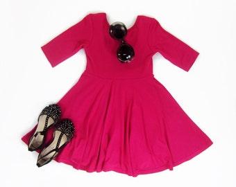 Girls Hot Pink Twirl Dress, Hot Pink Dress, Girl Dresses, Dresses, Pink Dress, Girls Clothes  Sizes 2/3, 4/5, 6/6X, 7/8, 10/12 Ready to Ship