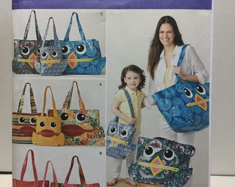 Simplicity 1631 Tote Bag Sewing Pattern,Large Tote, Medium Tote, Small Tote, Travel Bag, Overnight Bag, Beach Bag, Gym Bag, Market Bag, Owl,