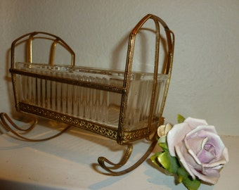Vintage Glass and Metal Cradle Candy Dish From The 1960's