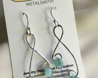 Sterling silver drop earrings with aquamarine art glass beads