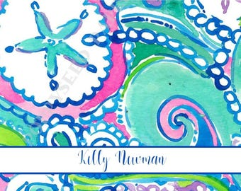 Lilly Pulitzer personalized folded note cards, stationery, preppy, Thank You Notes