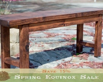 """15% OFF EQUINOX SALE!! Entryway Bench 48"""", Wood Bench, Wooden Bench, Rustic Bench Finished in Red Oak Stain"""