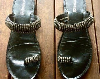 Woman, mules, bare feet shoes leather, color black, embellished with Rhinestones, size 40, size 8