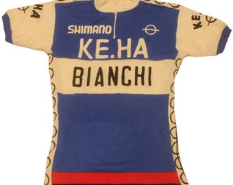 60's vintage Shimano Bianchi cycling jersey made in Italy