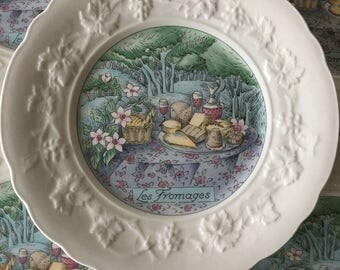Vintage Gien France Cheese Plates, set of 5   Les Fromages, salad plates, Gien Les Saveurs Marie-Pierre Boitard, picnic plates, french china