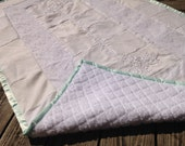 """Wedding Dress Baby Quilt, Crib Quilt 30x50"""" Formal Dress Quilt for new baby, Upcycled Memory Heirloom Quilt made from your Dress"""