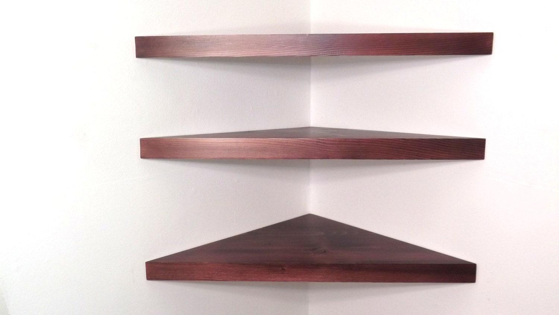 set of 3 22 inch floating corner shelves with black cherry. Black Bedroom Furniture Sets. Home Design Ideas