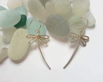 Dragonfly earrings 925 Sterling Silver. Silver dragonflies drop earrings. Gift for her. Nature theme UK