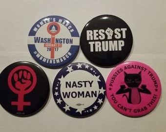 Hear our Voice Women's March on Washington Set of Five 3 inch buttons Nasty Woman/Resist