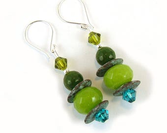 Apple Geen Jade Gemstone Sterling Silver Earrings