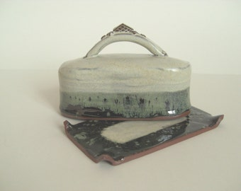 Oatmeal covered butter dish, handmade ceramic butter dish