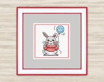 Cute Rabbit Counted Cross Stitch Kit / PDF Files - Rabbit 2