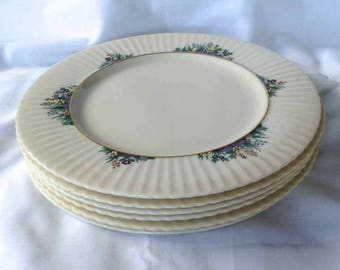 "Vintage Lenox China Six Dinner Plates - ""Rutledge Pattern"" - Made in USA - 1980's"