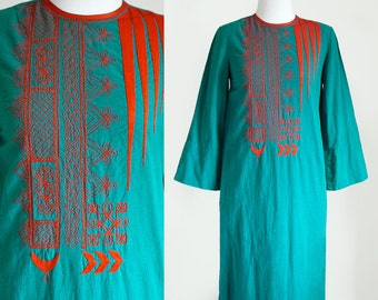 70's Treacy Lowe Embroidered Long Maxi Caftan Ethnic India Cotton Dress in Teal Green / Hippie Bohemian Chic