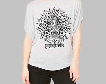 Yoga Clothes,Womens YOGA STUDIO Mediation Medallion Shirt)Flowy Tunic Slouchy Yoga Shirt-Yoga Clothes-Clothing-Girlfriend Gift-