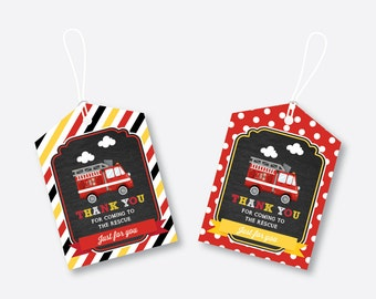 Instant Download, Fire Truck Favor Tags, Firetruck Thank You Tags, Fire Truck Gift Tags, Fireman Birthday Tags, Fireman Party (CKB.521)