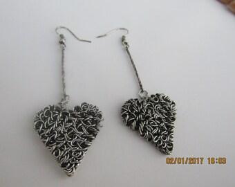 Scribble Heart Earrings, Wire earrings, organic earrings,  ladies earrings, drop earrings, rustic earrings, silver earrings