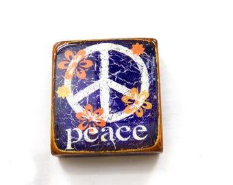"Wee Deep Purple Flower Power ""Peace""-Purple/Orange/Yellow,acrylic,oil handprinted,deep purple,GlossyResinCoat,solid,LightSprucepruceBlock."