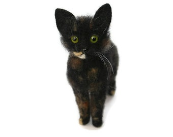 Black Felted Cat. Black Cat. Kitty. Multicolored Cat. Green/Yellow Eyes. Soft Sculpture. Pet. Felted Animal.  Made to Order.