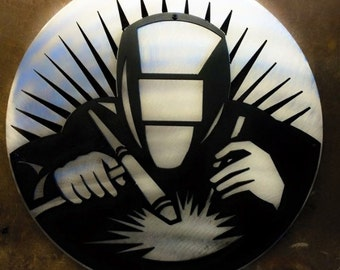 "16"" Metal Welder wall art"