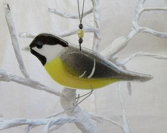 Fused glass coal tit - bird lover gift  - garden birds - british birds - nature lover gift - garden ornament - british wildlife