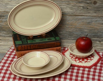 Vintage Restaurant Ware.  Five pieces of tan and red plates and bowls