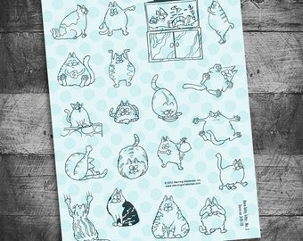 cat stamps, cat stamp sets, cat journals, cat planner, kitty stamps, kitten stamps, fat cat stamps, Here Kitty No. 2  Starving Artistamps