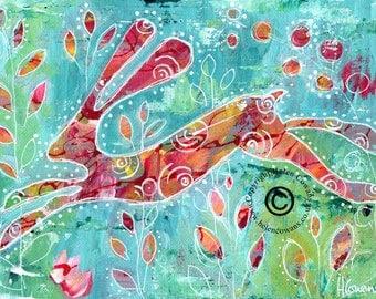 Bounding Hare #171 Original Painting