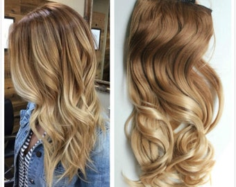 One Piece Dip dye Clip in Hair extensions Ombre Light brown to sandy blonde