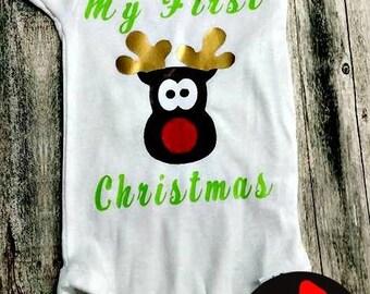 Baby's First Christmas  Reindeer Onesie