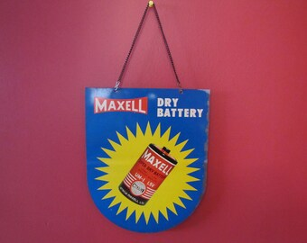 Vintage Maxell Dry Battery Tin Advertising Sign