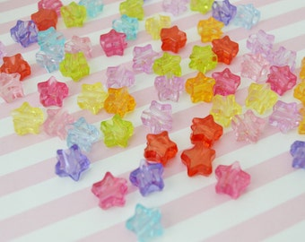 14mm Bright Candy Colored Star Beads - set of 20