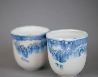 Set of two handmade Japanese style ceramic tea cups
