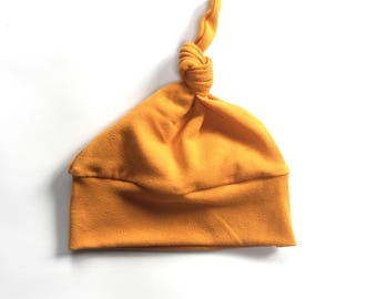 Modern Baby Knot Hat, Newborn hat, mustard yellow knot hat,  going home outfit