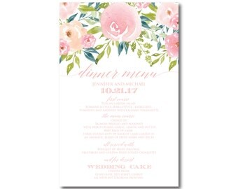 PRINTABLE Wedding Menu, Floral Dinner Menu, Wedding Menu, Printable Dinner Menu, Rehearsal Menu, Wedding Dinner, Reception Menu #CL281
