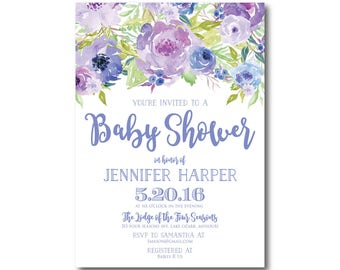 Floral Baby Shower Invitation, Baby Shower Invite, Girl Baby Shower Invitation, Shower Invitation, Printable Baby Shower Invitation #CL330