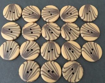 Vintage Brown and Tan Buttons. Lot of 18.