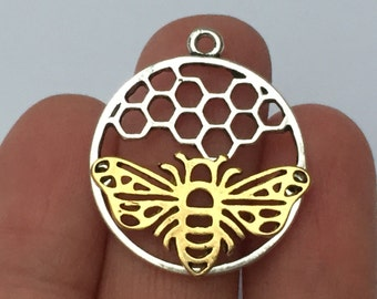 4 Bee and Honeycomb Charms - SC795