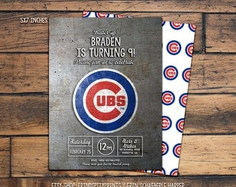 Cubs Baseball Birthday Invitation (Digital File or Prints with Envelopes) (FREE Shipping) (ALL Wording can be changed)